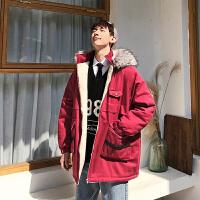 韩版毛领连帽加厚保暖棉服ins纯色学生帅气宽松情侣嘻哈棉衣外套