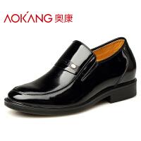 奥康 内增高男鞋6cm商务漆皮男士商务正装内增高皮鞋婚鞋