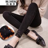 玛莲莎加绒外穿打底裤女冬季2018新款韩版弹力蕾丝拼接小脚裤 黑色