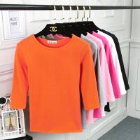 2018女装秋冬季新款七分袖t恤女修身中袖纯色圆领大码打底衫