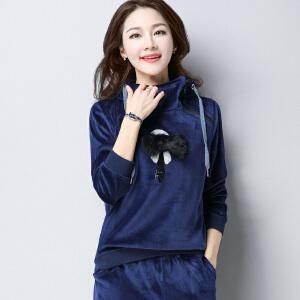 【满299减200 618开始了】Fanru梵如 单上衣2018春季新款女装韩版卫衣女宽松大码胖MM长袖帽衣运动装外套女 F286-8125