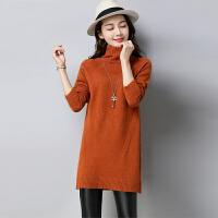 【清仓】高领毛衣女套头加厚中长款韩版新款长袖宽松时尚毛衣裙新款针织打底衫