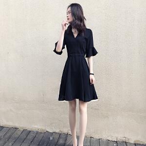 哆哆何伊黑色连衣裙2018春夏新款女装韩版修身显瘦中长款雪纺裙赫本小黑裙