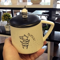 创意斑马陶瓷杯子可爱带盖带勺马克杯简约办公室情侣牛奶咖啡水杯 跳舞 送勺子+杯刷