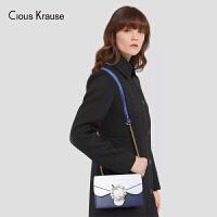 Clous Krause ck包包女包2019新款单肩斜挎包真皮小方包百搭时尚欧美风单肩链条包亮片仙女包