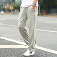 运动裤男宽松直筒卫裤 加肥加大码休闲裤子针织裤薄款夏 2X