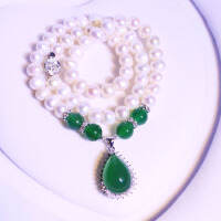天然淡水珍珠项链925纯银锁骨链绿玉髓吊坠银饰品送妈妈生日礼物