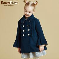 【3件4折 到手价:639】Pawinpaw宝英宝卡通小熊童装秋女童毛呢大衣儿童中长款