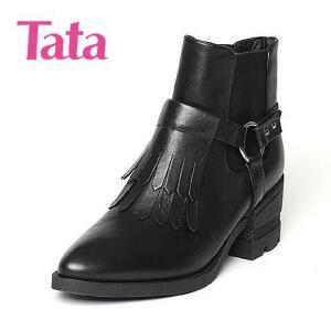 【百丽集团夏季大促,5.28准时开抢】Tata/他她专柜同款小牛皮女短靴FD443DD6
