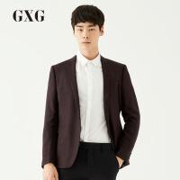 【GXG&大牌日 2.5折到手价:359.8】[品格]GXG西装男装 男士青年时尚商务绅士休闲酒红底黑格单西外套