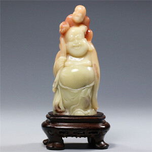寿山芙蓉石摆件  童子戏佛