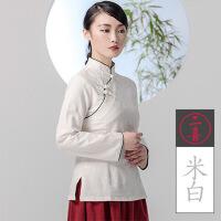 棉麻茶服女秋冬厚唐装上衣长袖旗袍上衣短款改良修身中式茶人服