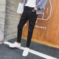 新款2018男士裤子夏季春夏青年男士黑色爪破洞牛仔裤子男装韩潮流