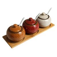 味罐三件套装带盖创意 家用陶瓷调味瓶调料罐组合装