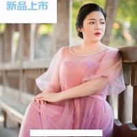 2018大码浅豆沙色晚礼服女胖mm宴会200斤显瘦长款中袖伴娘服