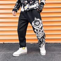 新款胖子加肥加大码裤子个性骷髅印花街舞嘻哈运动哈伦裤卫裤男