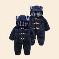 秋冬款童装宝宝夹棉连体哈衣珊瑚绒连身衣婴儿可爱爬服加厚潮