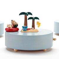 音乐盒八音盒木质女生生日礼物儿童小熊创意旋转跳舞