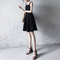 冷淡风连衣裙女夏装2018新款韩版时尚吊带极简收腰气质赫本小黑裙 黑色