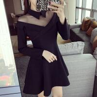 赫本小黑裙长袖2018新款女装春装连衣裙韩版性感名媛小香风礼服裙 黑色