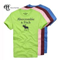 Abercrombie & Fitch 图案款 纯棉男式 圆领短袖T恤衫