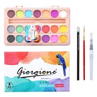 21色固体水彩颜料套装 便携水彩画纸画笔套装初学者水彩绘画套装