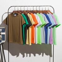 高品质夏季色短袖情侣装糖果色T恤男女休闲半截袖上衣