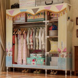 门扉 简易衣柜 钢管加粗加固简易衣柜组装双人大号布衣橱经济型