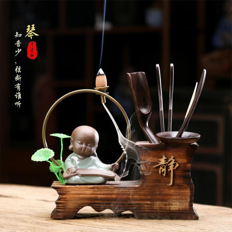 创意茶具配件茶道黑檀实木六君子零配小和尚笔筒茶盘装饰套装摆件