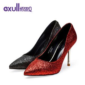 依思q春秋季新款闪烁鞋面细高跟鞋优雅尖头套脚单鞋女鞋-
