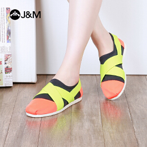 jm快乐玛丽2018春夏经典拼色绑带套脚平底休闲帆布鞋女鞋子61869W