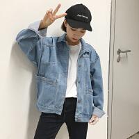 秋季新款韩版BF风宽松显瘦休闲上衣口袋长袖牛仔短外套女学生