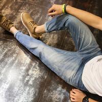 牛仔裤男士夏季韩版青年复古哈伦裤潮流小脚裤宽松大码长裤子潮流时尚 蓝色