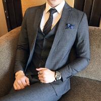 新品18秋冬装男士韩版修身气质灰色西服套装潮流青年免烫休闲三件