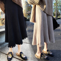慈姑2018秋冬季新款韩女装高腰裙针织毛线百搭中长款显瘦A字半身裙