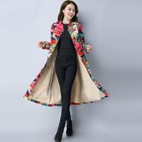 中国风春装新款民族风女装立领盘扣长款棉麻加绒外套大衣风衣