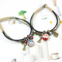 「招财猫手链」简约文艺卡通情侣手链手工绘制学生陶瓷手绳首饰品