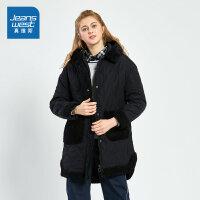 [3折到手价:98.9元再叠30券,仅限2.19-24]真维斯女装 冬装 化纤拼毛毛贴合布连帽棉衣外套