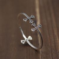 -复古简约十字架开口手环 泰银个性款细边男女手镯 925银 开口均码