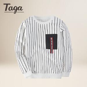 taga童装 2018春季新款中大童长袖T恤纯棉圆领上衣tx衫儿童条纹针织卫衣t恤