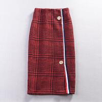 A@13 春季时尚气质粗花呢中长包臀裙韩版修身百搭呢子半身裙