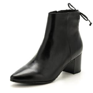 星期六(ST&SAT)冬季专柜同款牛皮革粗跟系带短靴SS74116657