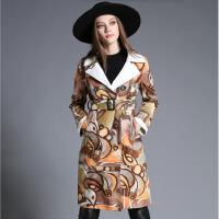 欧洲站女装新款时尚麂皮绒印花双排扣修身显瘦中长款女士风衣外套