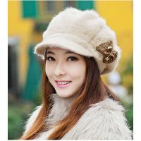 女韩版 潮鸭舌贝雷帽保暖兔毛帽针织毛线帽秋冬天时尚