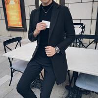 新款2018秋冬男士妮子外套中长款修身毛呢大衣修身休闲呢风衣潮流