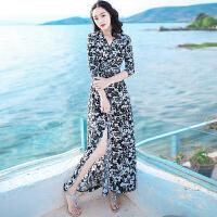 夏季新品女装修身系带中袖雪纺连衣裙波西米亚长裙海边度假沙滩裙 黑白花 X259