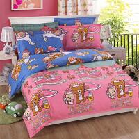 卡通四件套宿舍全棉1.5m床笠床单被套1.2儿童床上用品三件套4 1.8m(6英尺)床 床单式