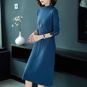 安妮纯女士毛衣秋冬2020新款外穿中长款毛衣裙过膝洋气打底衫针织连衣裙