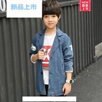春装韩版中大儿童牛仔外套男童时尚牛仔褂小学生牛仔上衣