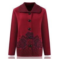 老年人秋装女60-70岁加厚毛衣开衫老人衣服羊毛衫大码奶奶外套 XL 100-125斤